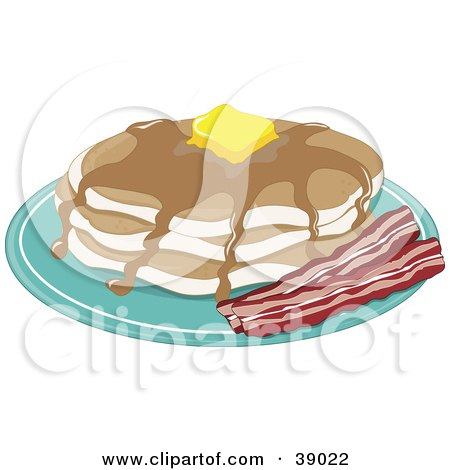 Clipart Illustration of a Short Stack Of Buttery Pancakes With Maple Syrup And A Side Of Crispy Bacon by Maria Bell