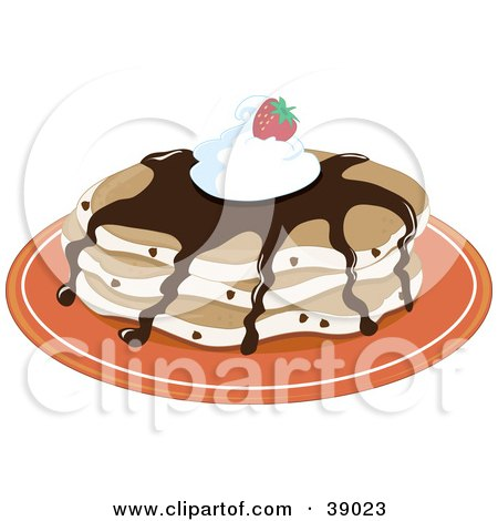 Clipart Illustration of Chocolate Chip Pancakes Topped With Chocolate Syrup, Whipped Cream And A Strawberry by Maria Bell