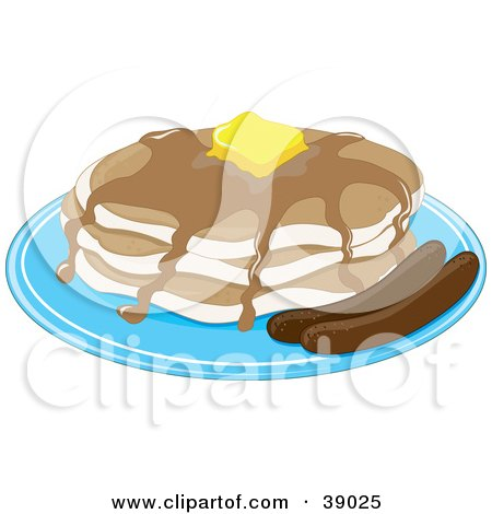Clipart Illustration of a Short Stack Of Buttery Pancakes With Maple Syrup And A Side Of Sausage by Maria Bell