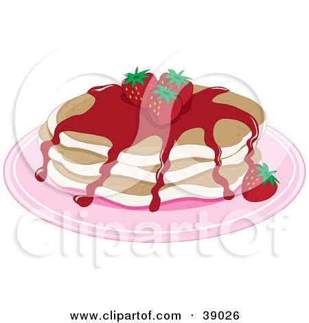 Clipart Illustration of a Short Stack Of Buttermilk Pancakes Topped With Strawberries And Strawberry Syrup by Maria Bell