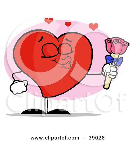 Clipart Illustration of a Romantic Male Red Heart Puckering His Lips And Giving Pink Roses by Hit Toon