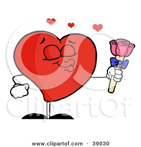 Clipart Illustration of a Sweet Male Red Heart Puckering His Lips And Holding Out Pink Roses by Hit Toon