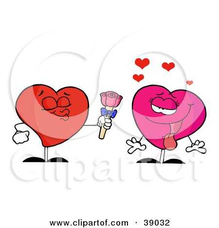 Clipart Illustration of a Sweet Male Heart Giving Roses To An Infatuated Female by Hit Toon