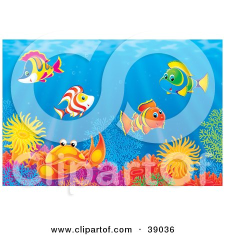 Clipart Illustration of an Underwater Scene Of Colorful Tropical Fish And A Crab Socializing At A Coral Reef by Alex Bannykh
