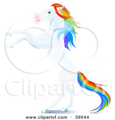 Clipart Illustration of a White Horse With A Rainbow Colored Mane And Tail, Rearing Up On Its Hind Legs by Pushkin