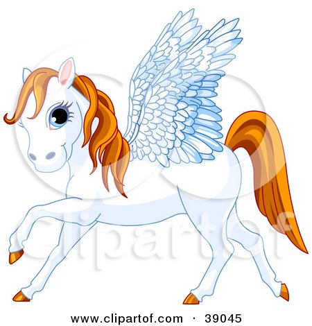 Clipart Illustration of a Blue Eyed White Winged Pegasus Horse With An Orange Mane And Tail by Pushkin