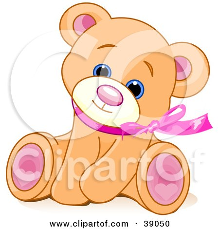 Adorable Brown Teddy Bear Wearing A Pink Ribbon, Tilting Its Head And Sitting Posters, Art Prints