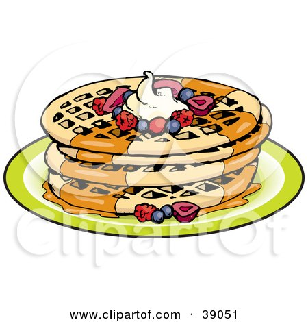 Clipart Illustration of a Stack Of Four Round Waffles Garnished With Whipped Cream, Maple Syrup And Berries by Dennis Holmes Designs