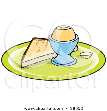 Clipart Illustration of a Slice Of Toast And A Boiled Egg On A Plate by Dennis Holmes Designs