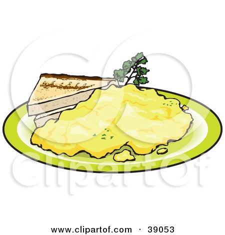 Clipart Illustration of Two Slices Of Toast Served With Scrambled Eggs by Dennis Holmes Designs