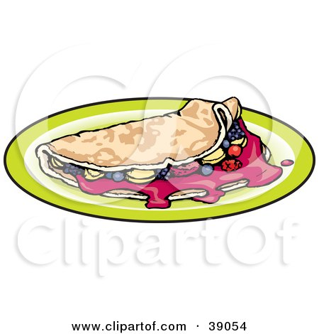 Clipart Illustration of a Breakfast Crepe Filled With Fruit by Dennis Holmes Designs