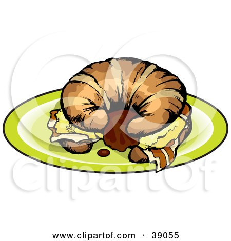 Clipart Illustration of a Breakfast Croissant Sandwich With Bacon And Eggs by Dennis Holmes Designs