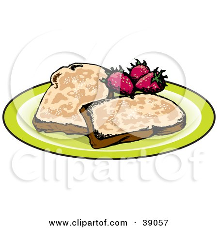 Clipart Illustration of Two Slices Of French Toast Served With Strawberries by Dennis Holmes Designs