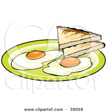 Clipart Illustration of Two Fried Eggs Served With Toast by Dennis Holmes Designs