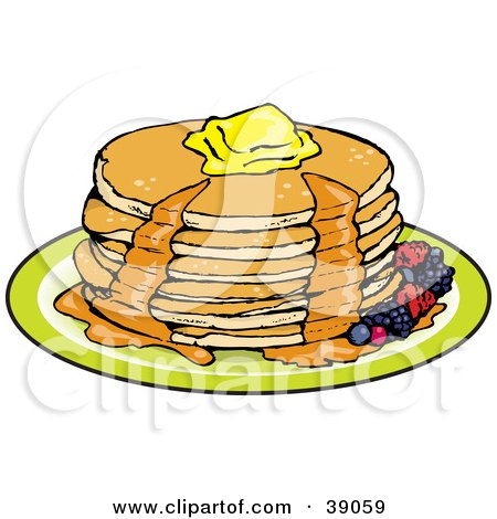Clipart Illustration of a Stack Of Six Buttermilk Pancakes Topped With Melting Butter And Oozing With Maple Syrup, Garnished With Berries by Dennis Holmes Designs