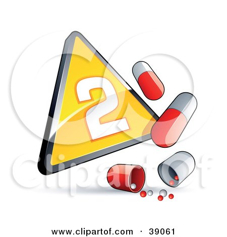 Clipart Illustration of a Yellow Triangular Phase 2 Influenza Sign With Red And White Pill Capsules by beboy