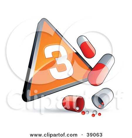 Clipart Illustration of an Orange Triangular Phase 3 Influenza Sign With Red And White Pill Capsules by beboy