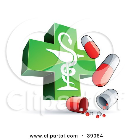 Clipart Illustration of a Shiny Green Caduceus Cross With Red And White Capsules by beboy
