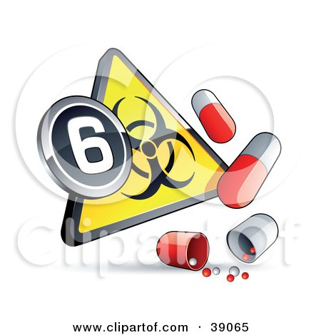 Clipart Illustration of a Yellow Triangular Flu Pandemic Phase 6 Warning Biohazard Sign With Pill Capsules by beboy