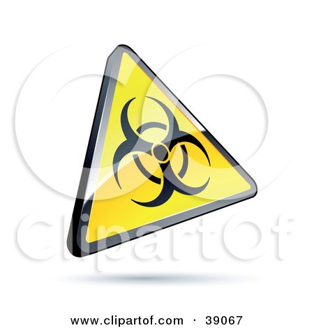 Clipart Illustration of a Shiny Yellow Warning Triangular Biological Hazard Sign by beboy
