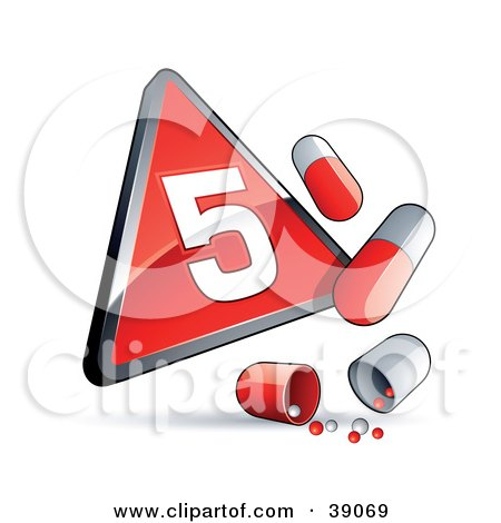 Clipart Illustration of a Red Triangular Phase 5 Influenza Sign With Red And White Pill Capsules by beboy