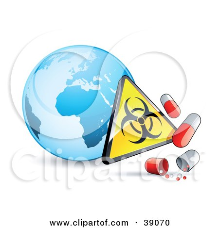 Clipart Illustration of a Blue Globe With A Biohazard Sign And Influenza Capsules by beboy