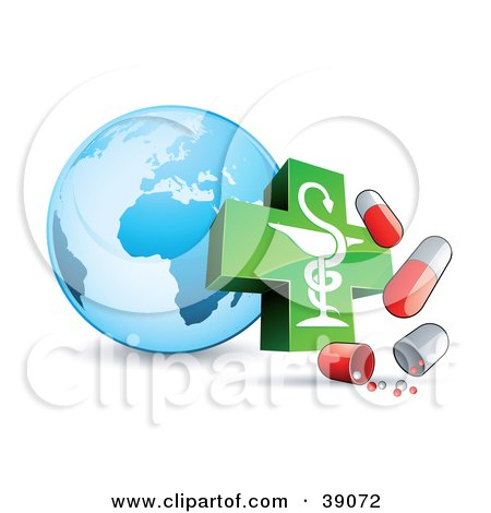 Clipart Illustration of a Blue Globe With A Caduceus And Influenza Capsules by beboy