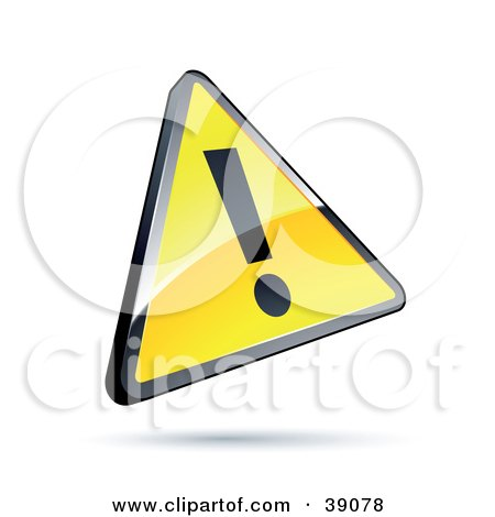 Clipart Illustration of a Shiny Yellow Warning Triangular Exclamation Point Sign by beboy