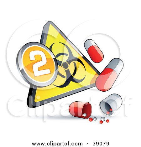 Clipart Illustration of a Yellow Triangular Flu Phase 2 Warning Biohazard Sign With Pill Capsules by beboy