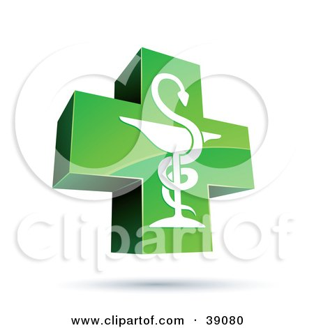 Clipart Illustration of a Green And Shiny Medical Caduceus Cross by beboy