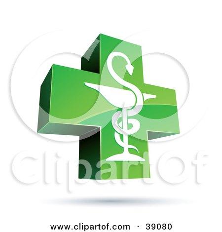 Green And Shiny Medical Caduceus Cross Posters, Art Prints