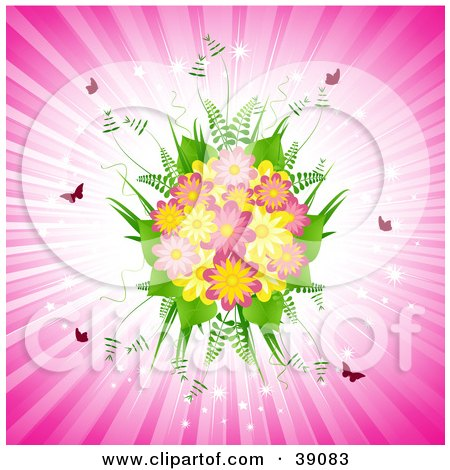 Clipart Illustration of a Pretty Fern And Pink And Yellow Daisy Bouquet With Butterflies On A Bursting Pink Background by elaineitalia