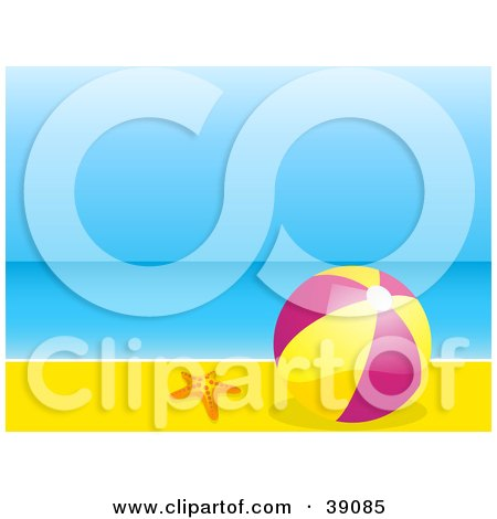 Clipart Illustration of a Pink And Yellow Beach Ball Resting In The Sand By A Starfish, Calm Blue Water And Sky In The Background by elaineitalia