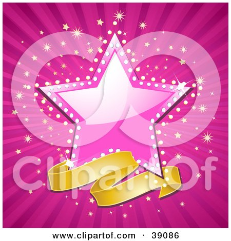 Clipart Illustration of a Blank Banner Below A Shiny Pink Star, With A Sparkling Background by elaineitalia