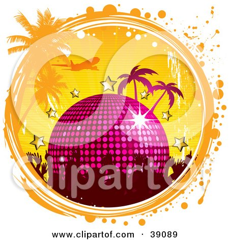 Clipart Illustration of a Party Crowd With A Disco Ball, Stars, Palm Trees And A Plane In A Grunge Circle by elaineitalia