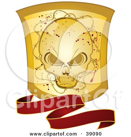 Clipart Illustration of a Wavy Red Banner With A Grunge Gold Skull Shield by elaineitalia