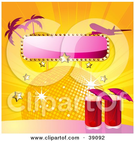 Clipart Illustration of a Two Red Cocktails By A Disco Ball With Stars, A Blank Sign, Palm Trees And A Plane by elaineitalia