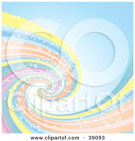 Clipart Illustration of a Pastel Spiraling Rainbow With Sparkles, On A Blue Background by elaineitalia