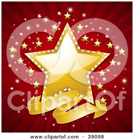 Clipart Illustration of a Blank Wavy Banner Below A Shiny Golden Star, With A Red And Gold Bursting Background by elaineitalia