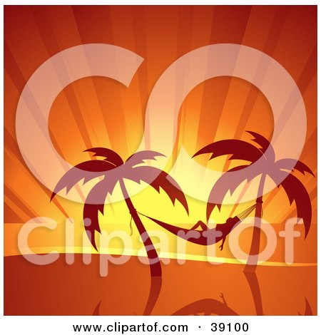 Clipart Illustration of a Woman Relaxing In A Hammock Suspended Between Palm Trees, Silhouetted At Sunset by elaineitalia