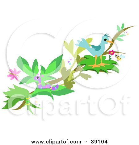 Clipart Illustration of a Bird Perched On A Tree Branch, With A Worm, Honey Bee And Butterfly by bpearth