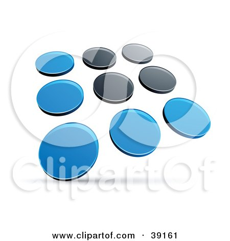 Clipart Illustration of a Pre-Made Logo Of Rows Of Blue And Black Dots by beboy
