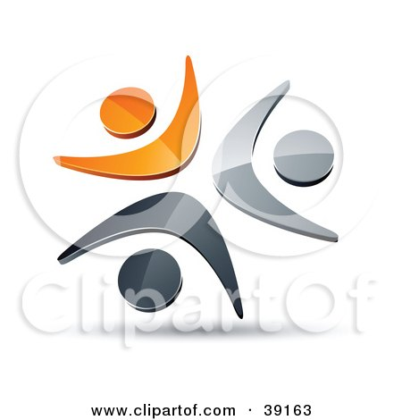 Clipart Illustration of a Pre-Made Logo Of Three Orange, Chrome And Black People Celebrating Or Dancing by beboy