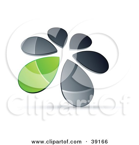 Clipart Illustration of a Circle Of Chrome And Green Droplets Forming A Windmill by beboy