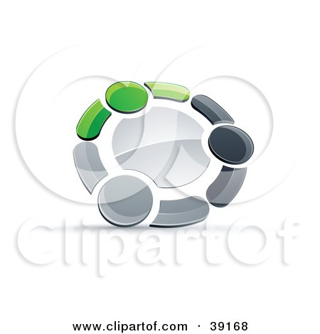 Clipart Illustration of a Pre-Made Logo Of A Circle Of Three Green, Gray And Black People Holding Hands by beboy