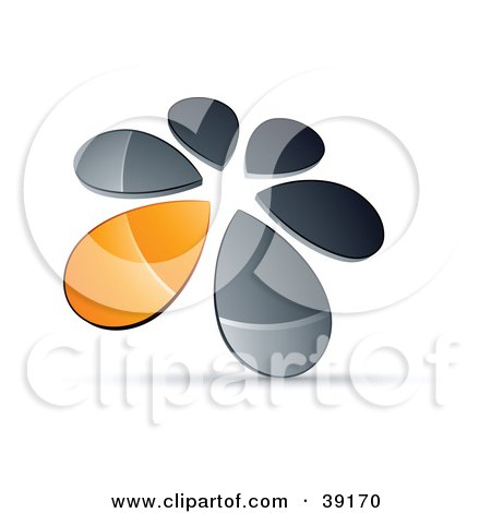 Clipart Illustration of a Circle Of Chrome And Orange Droplets Forming A Windmill by beboy