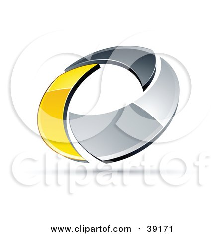 Clipart Illustration of a Pre-Made Logo Of A Chrome And Yellow Circling Ring by beboy