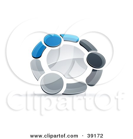 Clipart Illustration of a Pre-Made Logo Of A Circle Of Three Blue, Gray And Black People Holding Hands by beboy