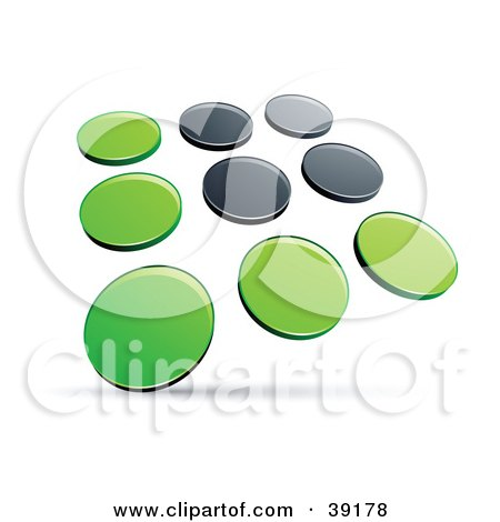 Clipart Illustration of a Pre-Made Logo Of Rows Of Green And Black Dots by beboy
