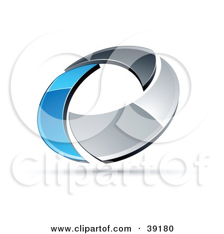 Clipart Illustration of a Pre-Made Logo Of A Chrome And Blue Circling Ring by beboy